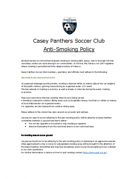 CPSC Anti Smoking and Illegal Drug alcohol policy