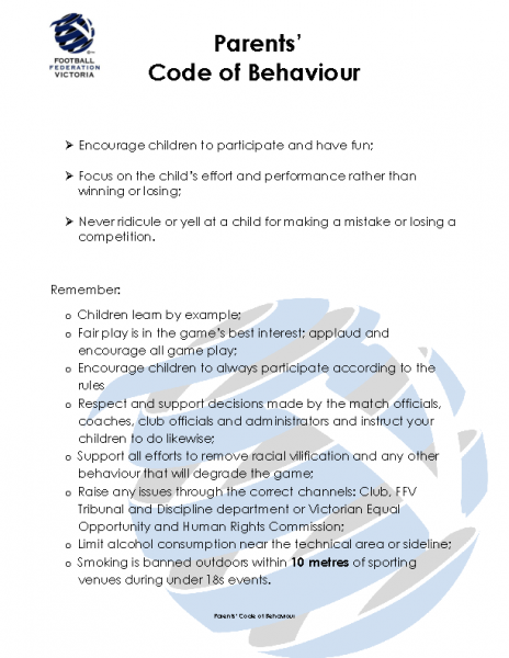FFV Parent's Code of Behaviour